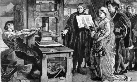 fanciful etching of William Caxton demonstrating the new-fangled moveable -type press to the King Edward IV and courtiers.